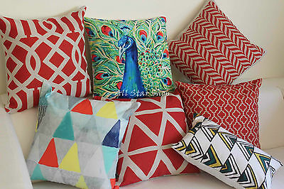 Art Red Peacock Geometry Home Decor Cotton CUSHION COVER PILLOW CASE 18  • 64.87£