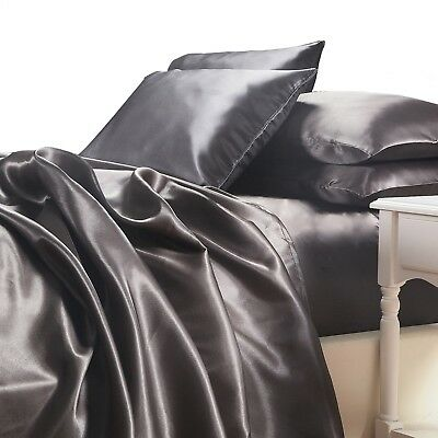 AU84.90 • Buy Satin Sheet Set King Size Charcoal Grey Silk Feel Luxury 4pc Bedding Set New