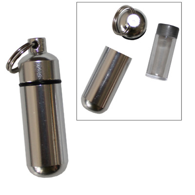 $8.99 • Buy 1 Pack Aluminum Pill Shape Case Keychain ID Holder Pet Ashes Urn Silver Metal