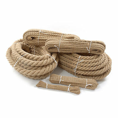 100%Natural Jute Hessian Rope Cord Braided Twisted Boating Sash Garden Decking  • 3.99£