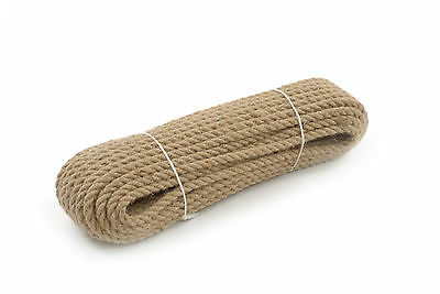 6mm Natural Jute Hessian Rope Cord Braided Twisted Boating Sash Garden Decking • 6.99£