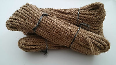 8mm Natural Jute Hessian Rope Cord Twine Braided Twisted Garden Decking Boating  • 1.99£