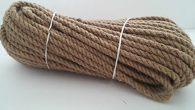 10mm Natural Jute Hessian Rope Cord Braided Twisted Boating Sash Garden Decking • 14.99£