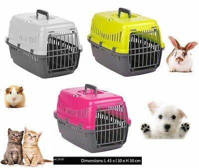 Plastic Pet Carrier For Cat Dog Puppy Rabbit Travel Box Basket Cage Outdoor New • 11.99£