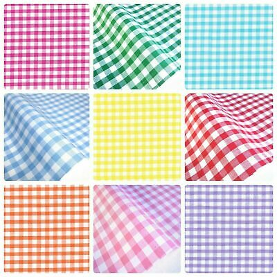 £5.50 • Buy Gingham Polycotton Fabric 1/4  Checked Material 112cm 44  Wide Sewing Curtains