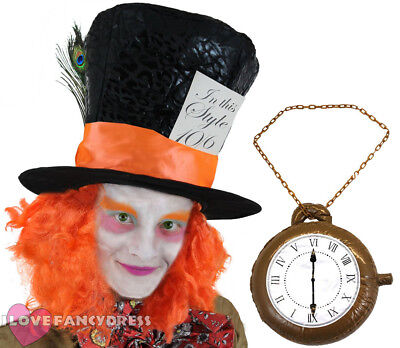 £8.99 • Buy Mad Hatter Hat With Wig Hair Plus Clock Necklace Fancy Dress Costume Accessory