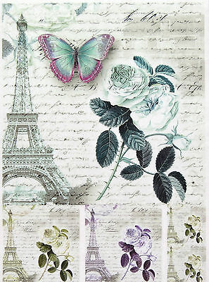 £1.89 • Buy Rice Paper For Decoupage, Scrapbook Sheet, Craft Paris,Rose,Butterfly