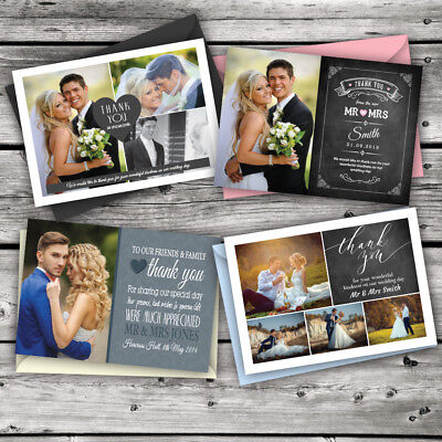 £1.99 • Buy Personalised Wedding Thank You Cards With Photo + Free Coloured Envelopes