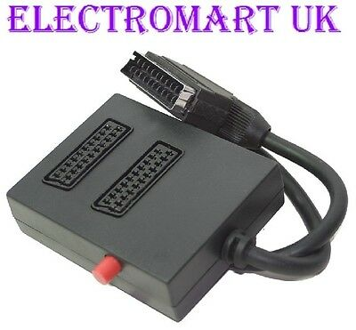 2 Way Switched Scart Adaptor Input Selector Switch Splitter Box • 5.98£