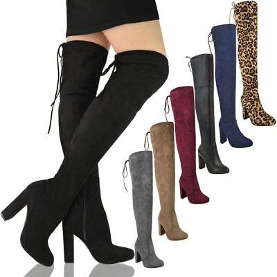 Womens Ladies Thigh High Boots Over The Knee Party Stretch Block Mid Heel Size • 19.95£