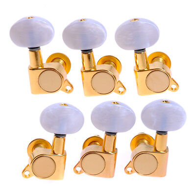 $ CDN22.65 • Buy 3L3R Guitar String Tuning Pegs Tuners Machine Heads Gold White Pearloid Buttons