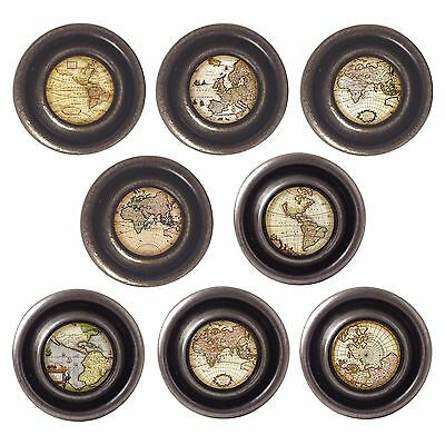 £3.50 • Buy Brass Or Pewter Knobs Antique Maps 32mm Cupboard Drawer Door Handles Decorated
