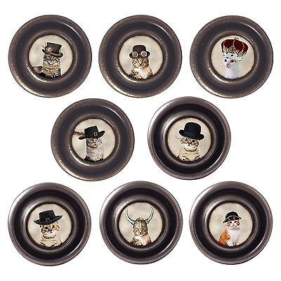 Brass Or Pewter Knobs Cats In Hats 32mm Cupboard Drawer Door Handles Decorated • 19.25£