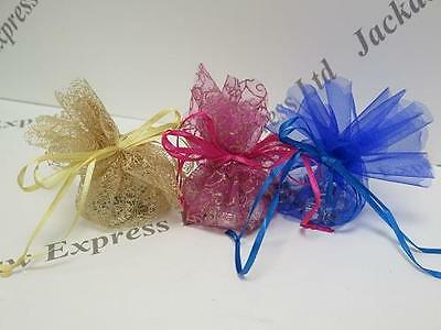 8pk Ribbon Pull Organza Favours Bags, Jewellery Pouch, 18 To Choose, Diam. 26cm • 2.73£