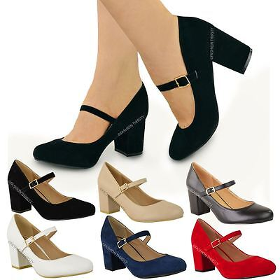 Womens Ladies Mid Block Heel Mary Jane Office Work Formal Strap Dolly Shoes Size • 16.99£