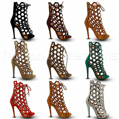 £9.95 • Buy Ladies Gladiator Stilettos High Heels Lace Up Peep Toe Ankle Boots Shoes Party