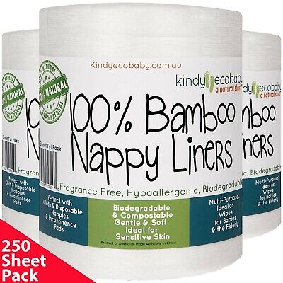 AU27.99 • Buy 250 Bamboo Nappy/Diaper Liners/Inserts PREMIUM QLTY, Cloth/disposable, Natural
