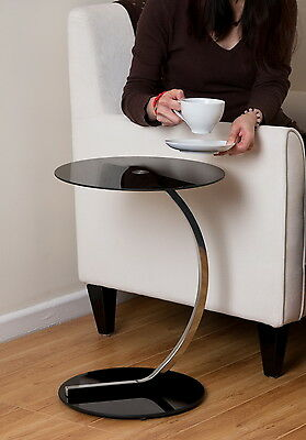 Merlin Round Side/Laptop/End/Coffe Table- Chrome Curved Tube,Black Glass-GT02B  • 39.99£