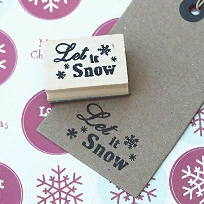 £3.95 • Buy 'Let It Snow' Small Snowflake Design Wooden Rubber Christmas Stamp