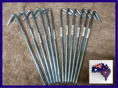 AU41.75 • Buy 20 X 8mm X 300mm Tent Pegs Hi-Tensile Galv Steel Aussie Made Heavy Duty Stakes