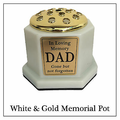 White & Gold Memorial Vase - Personalised Flower Pot, Gold Text Plaque For Grave • 19.99£