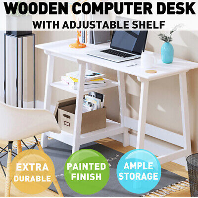 AU113.99 • Buy Computer Desk Wooden Student Study Table Workstation Shelf White Home Office