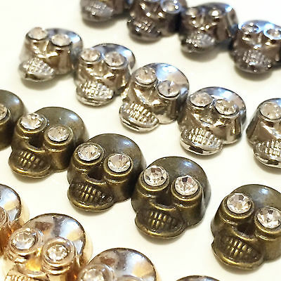 £3.79 • Buy Iron-on Hot-Fix Metal Skull Studs With Diamante/Diamonds Shoes Bags Belts Jeans