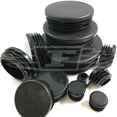 Round Plastic Black Blanking End Cap Caps Tube Pipe Inserts Plug Bung Steel • 7.79£