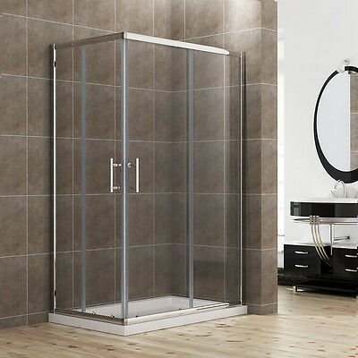 1000x760mm Shower Enclosure Walk In Corner Cubicle Glass Screen Door And Tray • 218.99£