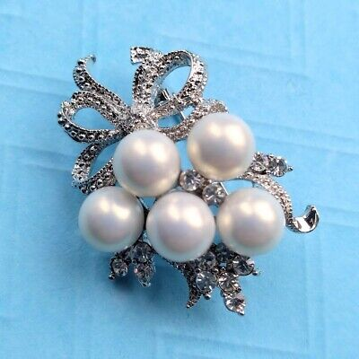£12.99 • Buy New Silver Tone White Pearl Bow Bouquet Dress Brooch In Gift Box Wedding Bridal