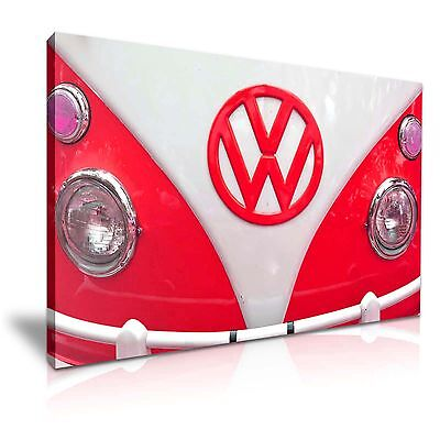 £30.99 • Buy Red Retro VW Camper Van Canvas Wall Art Picture Print 76x50cm