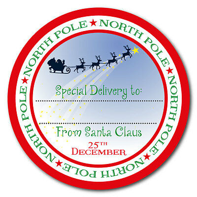 From Santa Claus - North Pole Special Delivery Stickers - 60mm Gift Labels • 1.75£