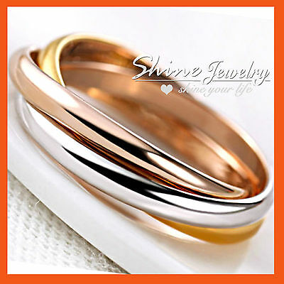 AU13.97 • Buy 18k Yellow White Rose Gold Gf Solid Lady Trinity Russian Engagement Wedding Ring