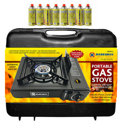 £24.95 • Buy Portable Gas Cooker Stove + 8 Butane Bottles Camping Bbq Party Burner Outdoor
