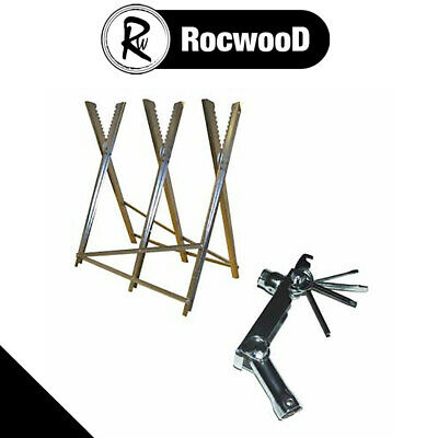 Folding Log Cutting Saw Horse Trestle Stand For Wood Logs & Chainsaw Pocket Tool • 26.99£