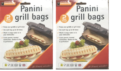 4 X PANINI GRILL BAGS – Snack Lunch, REUSEABLE, Perfect For Griddles , 50 USES • 6.89£