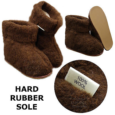 100% Sheep Wool Boots Cozy Foot Slippers Hard Sole Sheepskin Womens Mens Brown • 19.99£