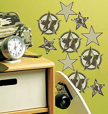 $16.99 • Buy WALLIES CAMOUFLAGE STARS Wall Stickers 18 Decals Military Army Camo Wall Decor