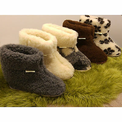 Hard Sole Natural Sheep Wool Boots Cozy Foot Slippers Sheepskin Womens Ladies  • 19.99£
