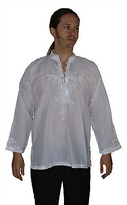 Men Tunic Shirt Cafan Moroccan Casual Handmade Embroidered Cotton XL White • 13.58£