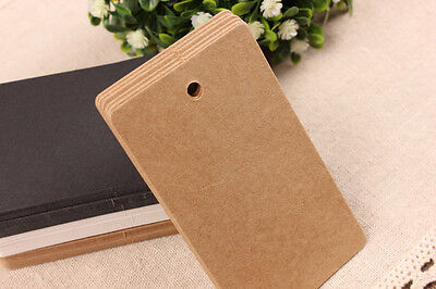 50/100pcs Brown Kraft Gift Tags Wedding Label Blank Luggage +Strings Options T2  • 1.99£