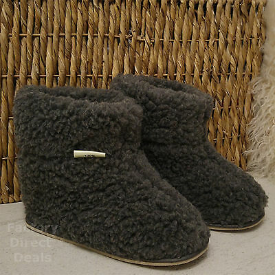 100% Sheep Wool Boots Cozy Foot Slippers Hard Sole Sheepskin Womens Mens Grey • 19.99£