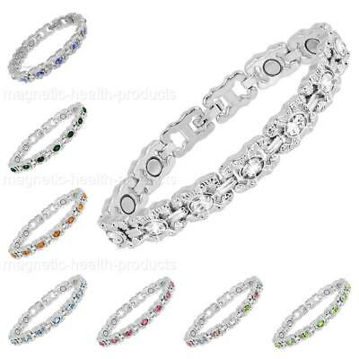 Ladies Magnetic Healing Bracelet Mixed Crystals Bangle Arthritis Pain Relief • 9.99£