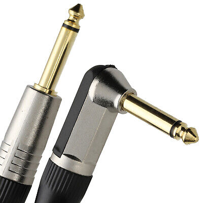 £4.38 • Buy 2m GOLD Right Angle MONO Jack 6.35mm 1/4 Inch Guitar/Amp Cable Lead [007931]