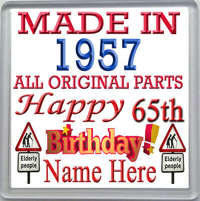HAPPY 65th BIRTHDAY DRINKS COASTER CELEBRATION GIFT PERSONALISED WITH NAME 1955 • 3.99£