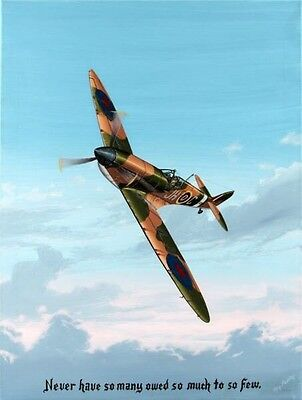£363.70 • Buy Authentic Supermarine Spitfire Painting By Ray Waddey Signed Mint 18  By 24