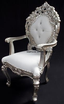 Royal Palace Ornate Throne Chair Silver Wedding Home  White Faux Leather Crystal • 735£
