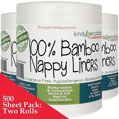 AU34.99 • Buy 440 X Bamboo Flushable Liners, Disposable Nappy Cloth Natural Liners X 2 Rolls