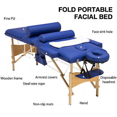 $114.99 • Buy 3 Fold 84 L Portable Facial SPA Bed Massage Table Sheet+2 Bolsters+Cradle+Hanger