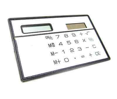2PCS 8 Digits Ultra Thin Mini Slim Credit Card Solar Power Pocket Calculator • 0.99£